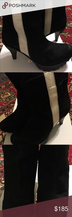 Vintage , Vibram boots . Vintage Vibram boots , so cool , all suede with patent withe leather stripes on sides . The heels are brown leather with visible stitches ❤️ Vibram Shoes Heeled Boots