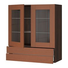 "SEKTION Wall cabinet/2 glass doors/2drawers - wood effect brown, Grimslöv medium brown, 36x15x40 "", Ma - IKEA"
