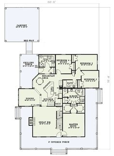 Floor 1 Wrap Around Porch #W5921ND Architectural Designs LOVE THIS PLAN~~~~no garage and no bonus rm