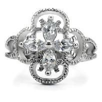 Floral Marquise cut SS w/Intricate detailing Cocktail Ring Sz 8/https://www.facebook.com/RingBlingLady