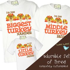 thanksgiving shirts matching big brother little brother or any big sister little sister THREE shirt sibling set perfect for turkey day Sibling Shirts, Sister Shirts, Boys Shirts, Big Brother Little Brother, Little Sisters, Family Thanksgiving, Thanksgiving Outfit, Personalized Shirts, Family Outfits