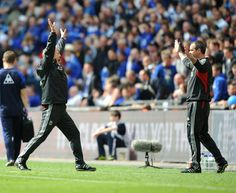 Kenny Dalglish and Steve Clarke celebrate after the final whistle