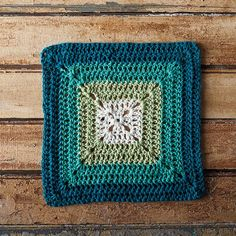 Teal Swirl Crochet Dishcloth
