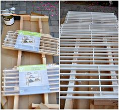 original DIY post has turned into a products page where you can only purchase... but good idea. wooden shoe rack to be turned into car/train storage