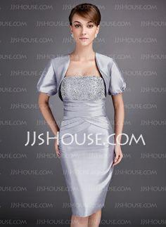 Mother of the Bride Dresses - $99.99 - Sheath Strapless Knee-Length Taffeta Mother of the Bride Dress With Ruffle (008005750) http://jjshouse.com/Sheath-Strapless-Knee-Length-Taffeta-Mother-Of-The-Bride-Dress-With-Ruffle-008005750-g5750