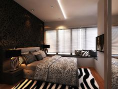 Bedroom with a zebra rug. Damask wall.