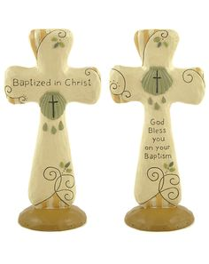 2 Piece Decorative Baptism Cross on Base Set (Set of 2)