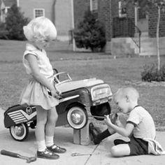 Peddle cars...Boys doing what boys do!
