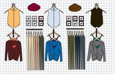 Illustration of an #AmericanApparel store's grid wall display.