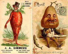 Vintage anthropomorphic veggies advertising seed... | Archie McPhee's Endless Geyser of AWESOME!