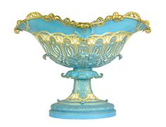 Sevres gilt and bleu celeste pierced flower bowl, French, circa 1880