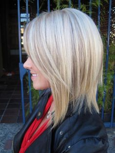long A-Line haircut and lowlights. Kate at Mecca Salon 916-444-2136