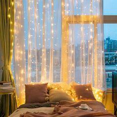 Room Ideas Bedroom, Living Room Bedroom, Home Bedroom, Magical Bedroom, Lighting Ideas Bedroom, Cool Bedroom Ideas, Romantic Bedroom Lighting, Cute Bedroom Decor, Bedroom Wall