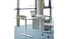 Montana - HA2 Work FP höhenverstellbarer Schreibtisch - weiß/ Gestell weiß rund/Mircolaminat, Kante Lino schwarz/verstellbar von 63,5cm - 127cm/elektrisch verstellbar