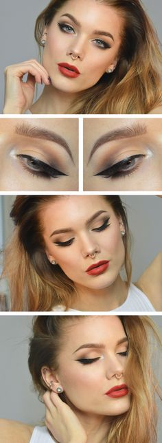 "this post is supposed to be about this girls makeup all I can see on her pretty make-uped face is her ""bull nose ring"" how can people think that's attractive :Linda Hallberg - winged eyeliner and red lip Makeup Goals, Love Makeup, Makeup Inspo, Makeup Inspiration, Makeup Ideas, Gorgeous Makeup, Makeup Geek, Makeup Tutorials, Great Gatsby Makeup"