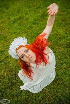 White goddess redhead from Varganess blog. Headpiece from NebulaXcrafts <3  ginger model angle photoshoot