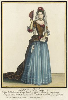 Recueil des modes de la cour de France, 'La Belle Plaideuse' (1682-1686). Nicolas Bonnart (French, 1637-1717). Hand-colored engraving on paper. LACMA. Court of France. Beautiful litigator. She requests so gently that there is doubt that she will be successful.