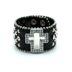 Rhinestone Bangle Bracelets | ... Bracelets » Leather Studded Rhinestone Cross Bracelet Choose Color