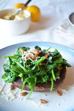 Grilled Portobellos with Meyer Lemon Pesto and Spinach by coffeeandquinoa #Mushrooms #Portabello #Lemon #Spinach