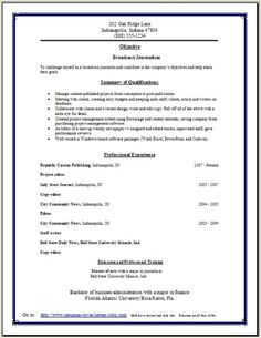Digital Journalist Resume Broadcast Journalism Resume:examples,samples Free  Edit With Word  Broadcast Journalism Resume