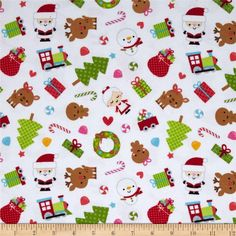 Riley Blake Santa Express Flannel Main White from @fabricdotcom  Designed by Doodlebug Designs for Riley Blake, this soft, double napped (brushed on both sides) flannel fabric is perfect for quilting, apparel and home décor accents. Colors include black, red, blue, orange, grey, cream, white, shades of brown, red, shades of pink, blue, and shades of green.
