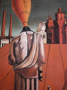 """LE MUSE INQUIETANTI"" riprod DE CHIRICO dipinto a mano olio su tela cm70x100 O/C"