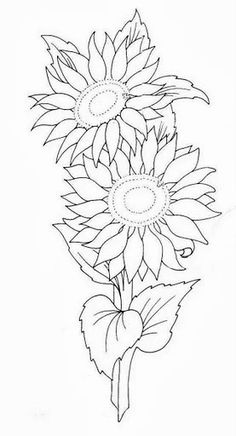 Awesome Most Popular Embroidery Patterns Ideas. Most Popular Embroidery Patterns Ideas. Sunflower Coloring Pages, Sunflower Art, Colouring Pages, Coloring Books, Painting Patterns, Fabric Painting, Embroidery Patterns, Hand Embroidery, Easy Drawings