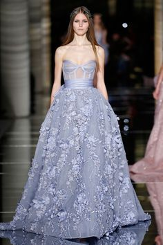 Couture Spring/Summer 2016 Heart-shaped princess dress in powder blue with a corset bodice nipped at the waist, with a draped belt