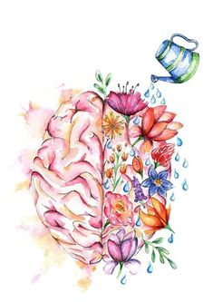 Self Care Tips for a Happier Life Your Mental Health Matters.Your Mental Health Matters. Right Brain Left Brain Watercolor Print Brain Art Poster Inspiration Art, Art Inspo, Motivation Inspiration, Brain Art, Brain Drawing, Brain Painting, Drawing Faces, Heart Anatomy Drawing, Body Painting
