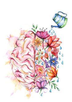 Self Care Tips for a Happier Life Your Mental Health Matters.Your Mental Health Matters. Right Brain Left Brain Watercolor Print Brain Art Poster Arte Com Grey's Anatomy, Mental Health Art, Mental Health Tattoos, Brain Health, Mental Health Awareness, Brain Art, Brain Drawing, Drawing Faces, Heart Anatomy Drawing