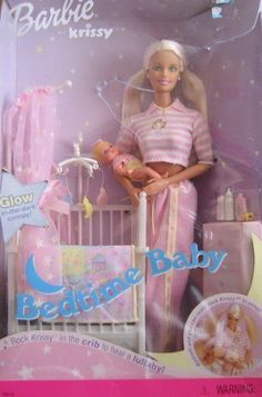 Barbie and krissy bedtime set, the netting above the cot and the blanket glowed in the dark
