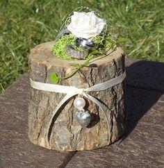Ringkissen Hochzeit Ringhalter Holz Mini Baumstamm creme Halter für Eheringe