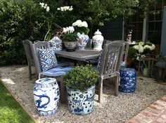 Chinese blue and white porcelain with rustic table