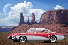 This photo-illustration depicts a daylight moon setting over a retro futuristic 1950s Buick Centurion at Monument Valley.