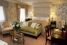 Travel to the English countryside and visit the Gainsborough Bath Spa and Ellenborough Park. Pictured here: Ellenborough Luxury Bedroom