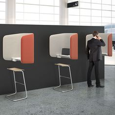 iBooth™ is an innovative enclosure designed for today's mobile world of interactive devices, where connection is everywhere but privacy is limited.  Offering both sound dampening and privacy while maintaining visibility to the surrounding space, iBooth is easily placed in collaborative and common areas, connecting corridors, lobbies, and public and private space for anyone's convenience.