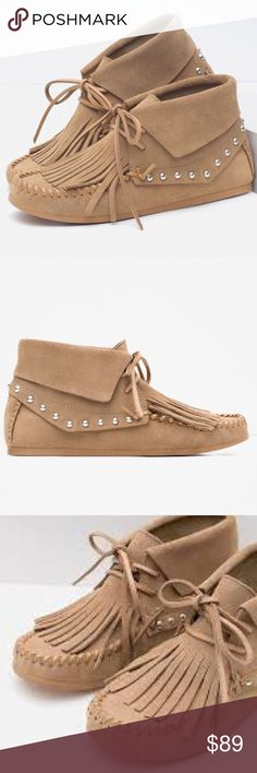 Zara Studded Leather Moccasins Authentic leather - New with tags Zara Shoes Moccasins