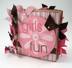 Paper Bag Scrapbook Album - Girls Just Want to Have Fun - Pink and Brown