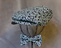 """Paisley Newsboy Hat & Bow Tie - Baby Boy Photograhpy Prop - Baby Boy Newsboy Hat  - TaLula Knits """"Gents"""" Bow Tie Collection"""