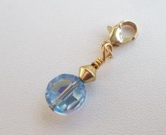 Handmade Gold Charm with 10mm Discontinued Light Sapphire AB Tablet Crystal by MarkalinoSupplies, $1.86