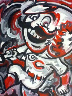 Cincinnati Reds Painting by Justin Patten Sports Art Baseball