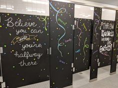 Inspiration Stalls - Girls School Bathroom Stall Art Makeover and Positive Messages Kindness Like Confetti, Be the Change, Believe You Can Bathroom Mural, Bathroom Stall, Bathroom Doors, Bathroom Paintings, School Leadership, School Counseling, School Bathroom, School Hall, School Murals