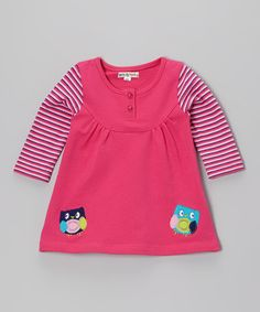 Take a look at this Pink Stripe Owl Layered Jumper by Mini Bamba on #zulily today!