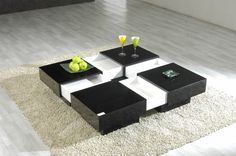 Black Square Extendable Coffee Table