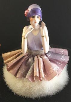 FASOLD & STAUCH Art Deco FLAPPER Half Doll Swans Down Puff Garconnes Vintage