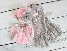 Cake Smash Set- Pink and Gray, Lace Diaper Cover, Headband, Leggings, Pink, bloomers, newborn, baby girl, toddler, birthday, cake smash via Etsy