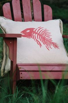 Large Fish Bone 24 in. x 24 in. Pillow