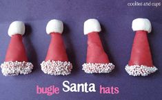 how cute, bugle santa hats, so easy and adorable!! I bet you could do this for witch hats too!!