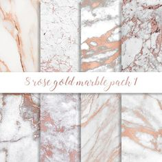 3 FOR 8 Rose gold marble digital paper Rose gold marble
