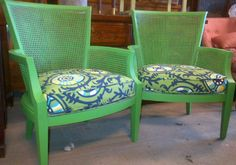 Pair of funky green cane arm chairs!